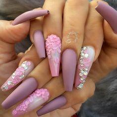54 Valentines Day Nail Design and Nail Art Ideas - Amerisha Beauty Pink Mauve Purple Nail Color Valentine's Day Nail Designs, Pretty Nail Designs, Acrylic Nail Designs, Coffin Nail Designs, Fancy Nails Designs, Perfect Nails, Gorgeous Nails, Cute Acrylic Nails, Gel Nails
