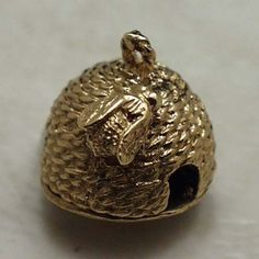 14k gold vintage BEEHIVE WITH HONEYCOMB charm