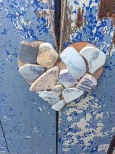 Purple Heart Grey Heart Purple & Grey Heart Sea by DaisysDriftwood