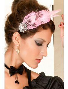 Pink Pearl Feather And Rhinestone Hair Hoop- a rhinestones flower on the side.  Headgear   Accesories   StringsAndMe