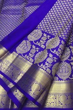 Blue Handloom Kanjeevaram Pure Silk Saree Bridal Sarees South Indian, Wedding Silk Saree, Kanchipuram Saree, Handloom Saree, Pure Silk Sarees, Cotton Saree, Katan Saree, Trendy Sarees, Red Saree