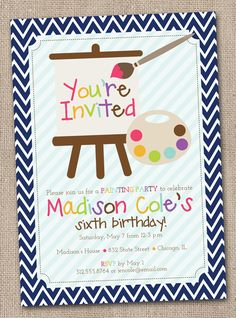 Printable Art Paint Party Invitations Colorful Kids Birthday