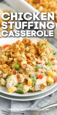 Chicken Stuffing Casserole is fuss-free, uses mainly pantry ingredients and ready in about 30 min! Chicken Stuffing Casserole only has 5 simple ingredients. Everything cooks in one dish, making this dish a super easy option for dinner! Easy Casserole Recipes, Easy Dinner Recipes, Easy Dinner Casserole, Easy Healthy Casserole, Supper Recipes, Chicken Stuffing Casserole, Cornbread Stuffing, Recipe For Chicken Casserole, Chicken Casserole With Stuffing