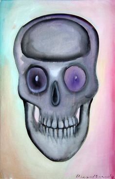Calavera con dientes perfectos, acrylic on canvas, 45 x 70 cm. , 2007. Painting of the Serie Pop Surrealism for sale by artist Diego Manuel