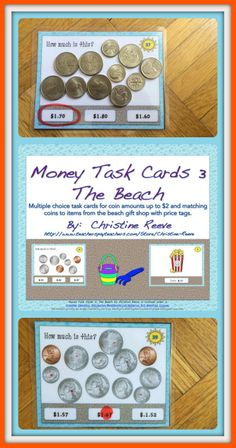 These cards are great for 1st and 2nd graders working on money skills to introduce coin value and adding change as well as special education students working on life skills. I specifically geared the items and tasks to be appropriate for secondary students in special education with a summertime theme. The cards are set up so the coins are the same size as real coins so students can match real coins as manipulatives to solve the problems. $3
