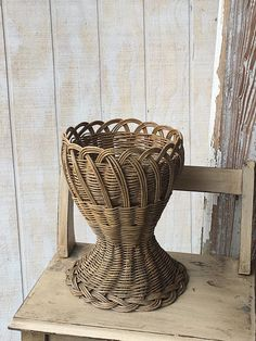 Midcentury Bohemian Plant Basket Woven Basket With