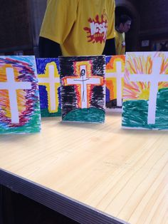 Easter cards. Place a piece Of masking tape to create the cross, then ...