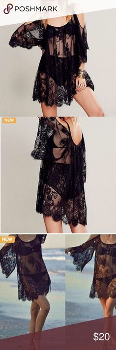 Black Lace Beach Cover-up Scoop neck cold shoulder long sleeve sheer lace beach cover up Swim Coverups