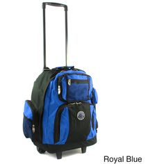 Roll-Away Deluxe Rolling Unisex Polyester Carry-on Backpack (Purple), Enterprises White Backpack, Backpack Travel Bag, Hiking Backpack, Travel Bags, Rolling Backpack, Key Pouch, Cool Backpacks, Back Strap, Online Bags