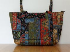 Black Blue Green Tan Orange Paisley Patchwork Print Quilted Purse