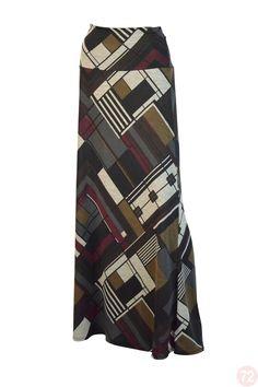 Belle Donne Women's Geometric Print Maxi Skirt