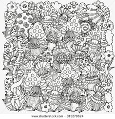 Pattern for coloring book in vector. Fantasy fairy mushrooms in the magic forest.  Mushrooms, flowers. Black and white pattern. Made by trace from sketch. Zentangle. - stock vector
