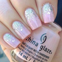 Pink and sparkly nails