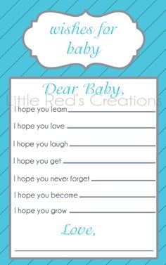 Wishes For Baby -For Baby Shower.