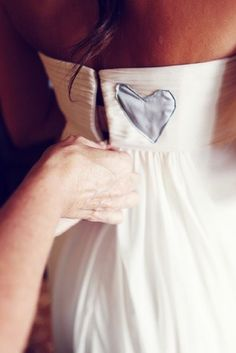 """100 Sentimental Wedding Ideas: A sweet """"something blue"""" — using one of your dad's old shirts, cut out a heart and sew it onto your dress. Gorgeous Wedding Dress, Perfect Wedding, Our Wedding, Dream Wedding, Wedding Stuff, Wedding Blog, Wedding Pins, Memorial At Wedding, Wedding Trends"""