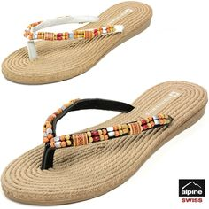 4029503139970e Alpine Swiss Women s Bohemian Sandals Wood Bead Thongs Comfort Flats Flip  Flops  alpineswiss  FlipFlops