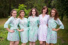 The light blue bridesmaids wedding robes having a floral pattern are perfect for getting ready on your wedding day.Look gorgeous with our floral bridesmaids robes. Cherry Blossom Theme, Cherry Blossom Wedding, Cherry Blossoms, Bridesmaid Robes, Brides And Bridesmaids, Floral Bridesmaids, Mint Flowers, Bridal Party Robes, Pattern Fabric