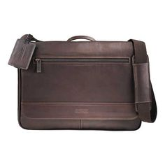 Made of soft Colombian leather, this Kenneth Cole flap-over compu-messenger has a refined yet rugged look. Large main compartment includes padded computer pouch with hook and loop closure that holds a laptop. Main compartment also holds iPad or tablet