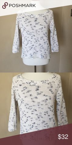 AE knit sweater White and dark gray AE knit sweater. Excellent condition. Smoke free home. American Eagle Outfitters Sweaters Crew & Scoop Necks