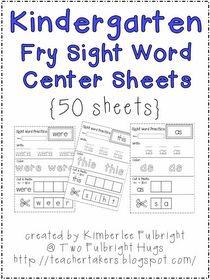 Two Fulbright Hugs ~ Teacher Time Savers: Reposting - Sight Word Sheets