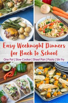 The key to getting dinner on the table (stress-free!) during the week is to be prepared and to keep it simple. Here are easy weeknight dinner ideas including one-pot meals, sheet pan dinners, slow cooker ideas and more. One Pot Meals, Kids Meals, Great Dinner Ideas, Easy Weeknight Dinners, Kid Friendly Meals, Stress Free, Sheet Pan, Food Hacks, Meal Planning
