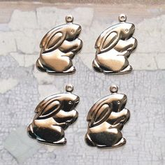 4 silver plated Sitting Rabbit charms 24x16mm by MyVintageCharms (Craft Supplies & Tools, Jewelry & Beading Supplies, Charms, silver plated charms, sp charms, shiny silver charms, usa made charms, bunny rabbit charms, bunny charm, rabbit charms, easter charms, spring charms, animal charms, silver plated rabbit, silver plated bunny, silver animal charms)