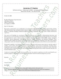 special education cover letter sample - Cover Letter And Resume Examples