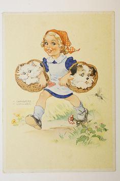 Old Vintage Postcard Child Girl Dog Cat | eBay