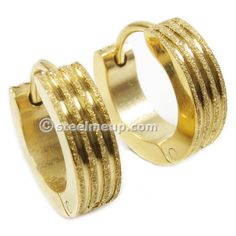 Pair Stainless Steel Gold Brush Stripes Men Hoop Earrings