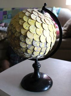 globe- covered in circle punches...could do this with justa styrofoam ball