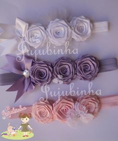 Wedding Flowers Flower Girl Headband Wedding H Diy Baby Headbands, Flower Girl Headbands, Diy Hair Bows, Diy Headband, Rose Headband, Ribbon Art, Diy Ribbon, Ribbon Crafts, Ribbon Bows
