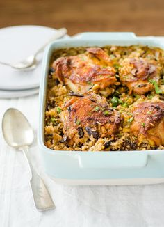 Chicken And Wild Rice Bake With Chopped Onion, Fresh Mushrooms, Celery, Bone In Chicken Thighs, Vinaigrette, Long Grain Brown Rice, Wild Rice, Smoked Paprika, Dried Thyme, Salt, Ground Black Pepper, Low Sodium Chicken Broth