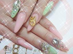 Pink & mint green pastel Gyaru style nail art <3