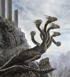 The Hydra which lived in the swamps near to the ancient city of Lerna in Argolis, was a terrifying monster which like the Nemean lion was the offspring of Echidna (half maiden - half serpent), and Typhon (had 100 heads), other versions think that the Hydra was the offspring of Styx and the Titan Pallas.