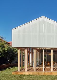 Amado are external sliding timber screens used on Japanese traditional houses to protect the inner layers of shoji screens from the weather. The Amado House adapts sliding screens to address Australian conditions, moderating harsh sun and discouraging blowflies with flywire replacing rice paper.