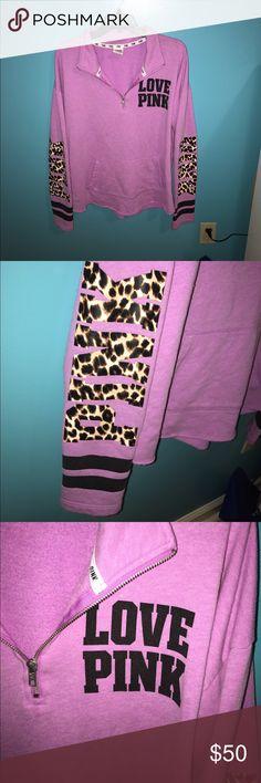 Large Victoria secret Super cute half zip cheetah PINK Victoria's Secret Jackets & Coats