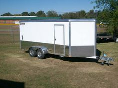 all aluminum aluma AE716M motorcycle enclosed trailer. torsion axles, screwless, lightweight aluminum construction. LED lighting makes this one of the best trailers on the market. 866-403-9798