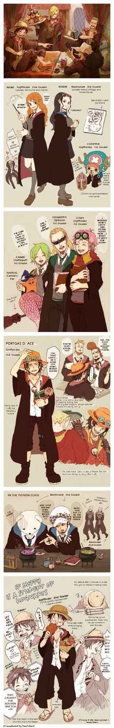 One Piece x Harry Potter. I found this pic here in Pininterest. I just took the liberty of translating it. [basTchet]