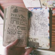 Travel journal showcase featuring freehand lettering and illustrations I did during my to Europe.