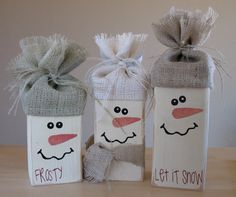 Cute 2x4 Snowmen ~ definitely making these!