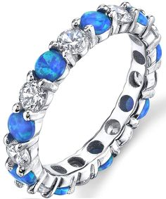 Saphir Bleu Zircone Cubique Coeur promesse ring sterling silver tiara crown Band Taille 4-12