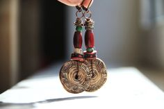 Unique handmade earrings in earthy red, green, brown tones with trade african beads rustic tribal dangle earrings earthy natural