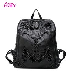 38548bd216 HMILY Genuine Leather Women Backpack Real Sheepskin Young Girl School Bag  Soft Rivet Trendy Lady Travel Bag Black Color Daypack Review