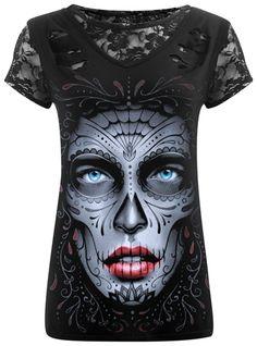 Tee Shirt Femme Spiral DARK WEAR - Death Mask 2 In 1 Ripped www.rockagogo.com