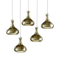 Set of 5 Hans-Agne Jakobsson Pendants in Brass.