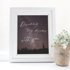 Celestial Night Sky Milky Way Galaxy Love Quote Print, Woodland Camping Forest Starry Sky, Romantic Bedroom Wall Art Quote Prints, Wall Art Prints, Framed Prints, Best Family Gifts, Sky Home, Personalized Family Gifts, Romantic Night, Wedding Guest Book Alternatives, Perfect Image
