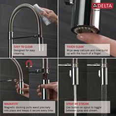 Delta Arctic Stainless Trinsic Pro Pre-Rinse Pull-Down Kitchen Faucet with On/Off Touch Activation, Magnetic Docking Spray Head - Limited Lifetime Warranty Year on Electronic Parts) Kitchen Faucet Parts, Kitchen Faucets, Delta Trinsic, Deep Sink, Sink Faucets, Sinks, Delta Faucets, Wipe Away, Water Conservation