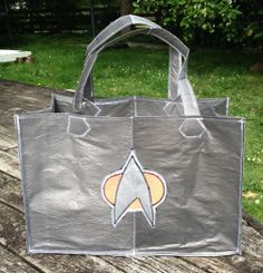 Star Trek tote bag, Star Trek the next generation Com badge.  Made out of 40 recycled single-use plastic bags. Handmade in NZ - Picard, Data, Guynan Check out our Facebook page to order www.fb.com/rematerialise