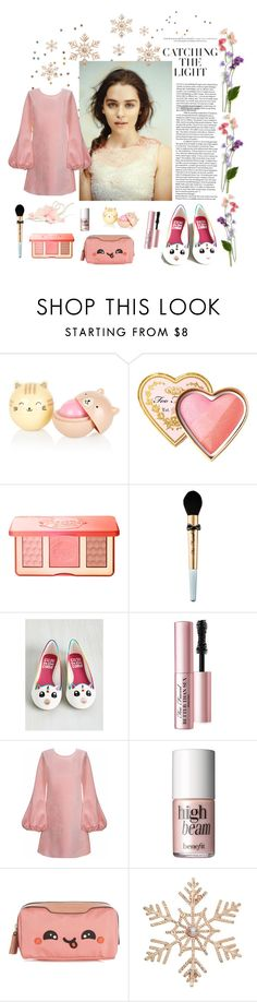 """""""Peachy🍑"""" by dustydreamy ❤ liked on Polyvore featuring Too Faced Cosmetics, Cynthia Rowley, Benefit, Anya Hindmarch and John Lewis"""