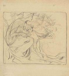 A mother and child feeding birds. Pencil on cardboard. 25.1 x 22.2 cm.